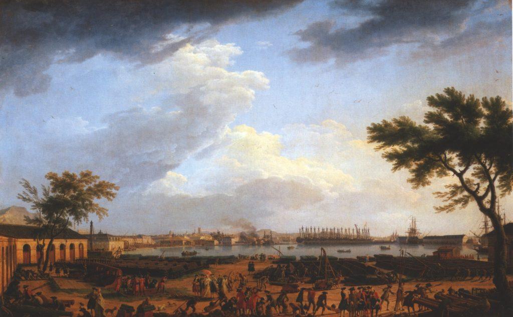 Première vue du port de Toulon, vue du Port-Neuf pris à l'angle du Parc d'artillerie  peint par Joseph Vernet.